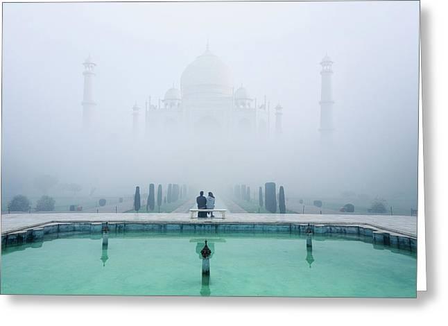 Misty Taj Mahal Greeting Card by Karthi Kn Raveendiran