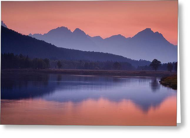 Wyoming Photography Greeting Cards - Misty Teton Sunset Greeting Card by Andrew Soundarajan