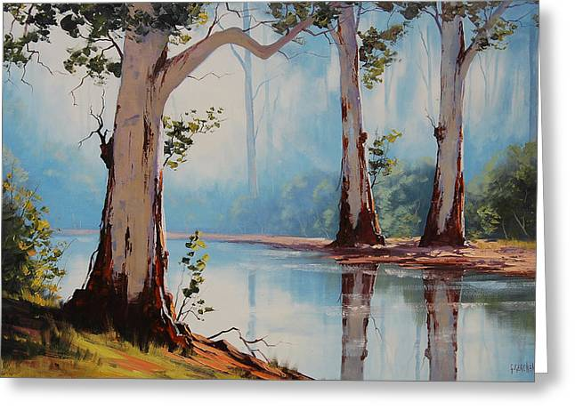 River Paintings Greeting Cards - Misty Trees Greeting Card by Graham Gercken