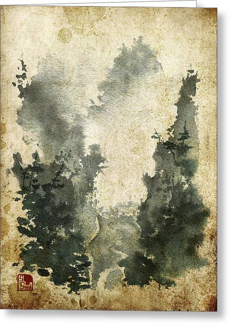 Chinese Landscape Greeting Cards - Misty Valley Altered Greeting Card by Sean Seal