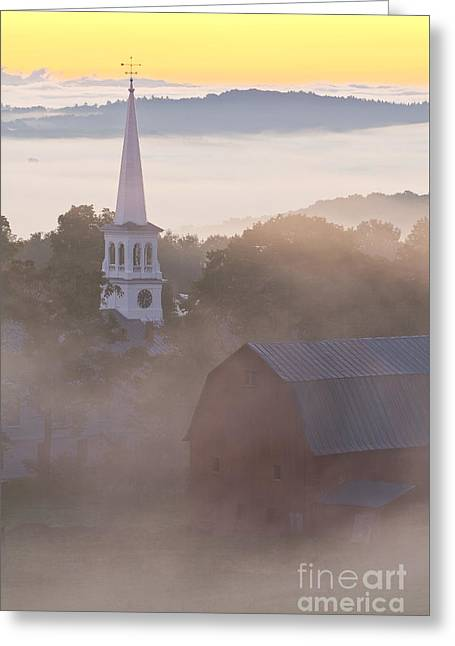 Weathervane Greeting Cards - Misty Vermont Dawn Greeting Card by Alan L Graham