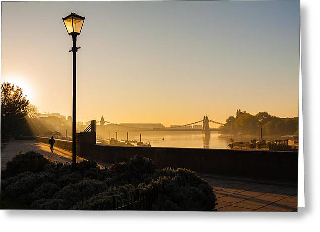Recently Sold -  - Garden Scene Greeting Cards - Misty view of the Thames Greeting Card by Matthew Bruce