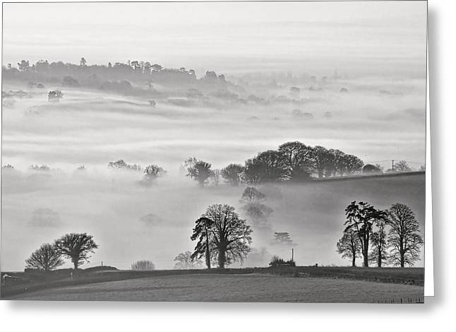 Culm Greeting Cards - Misty view Greeting Card by Pete Hemington