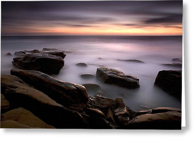 Foggy Beach Greeting Cards - Misty Water Greeting Card by Peter Tellone
