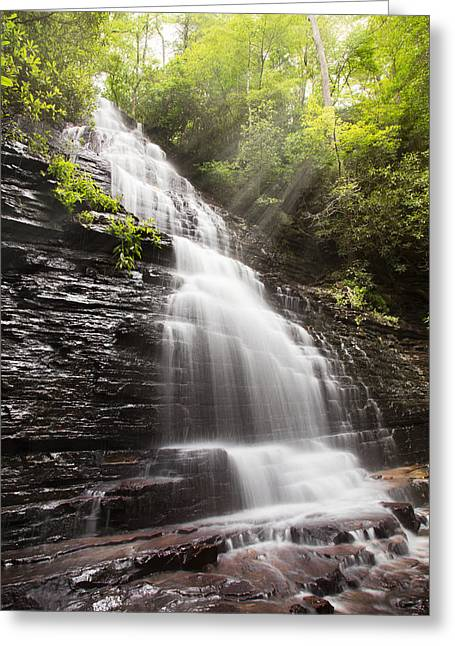 Tennessee River Greeting Cards - Misty Waterfall Greeting Card by Debra and Dave Vanderlaan