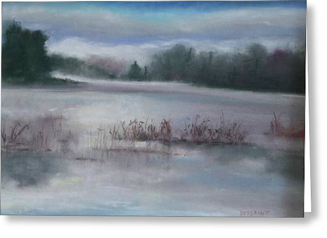 Fog Mist Pastels Greeting Cards - Misty Waters Greeting Card by Linda Dessaint