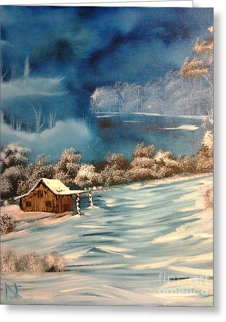 Bob Ross Paintings Greeting Cards - Misty Winter Greeting Card by Nick
