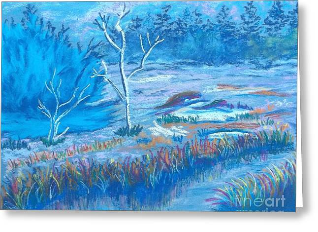 Evening Scenes Pastels Greeting Cards - Misty Winter Stream Greeting Card by Frank Giordano