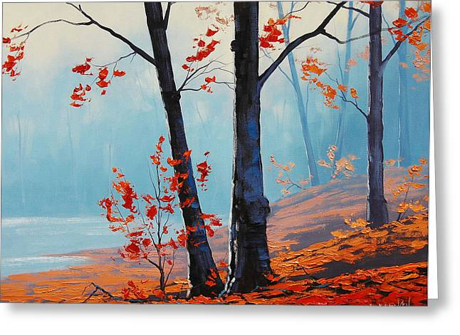 Fall Trees Greeting Cards - Misty Woodland Greeting Card by Graham Gercken