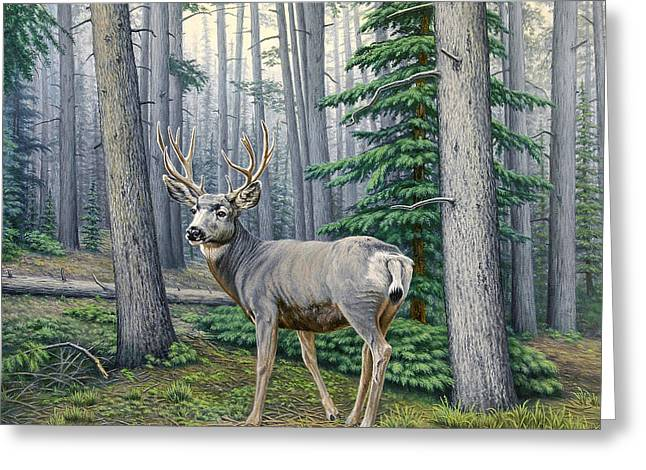 Mules Greeting Cards - Misty Woods-Buck Greeting Card by Paul Krapf