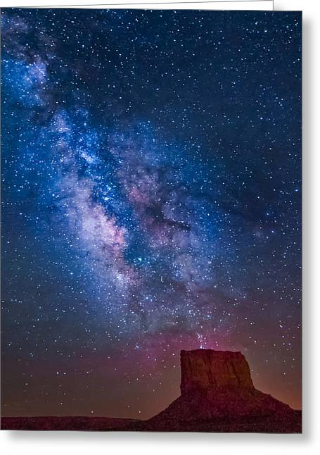 Mitchell Butte Greeting Cards - Mitchell Butte Milky Way Greeting Card by Joe Kopp