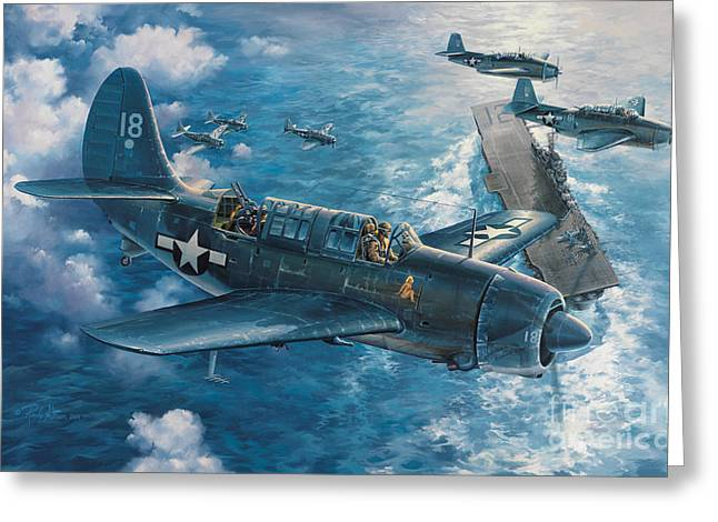 Air Plane Greeting Cards - Mitschers Hunt For The Rising Sun Greeting Card by Randy Green