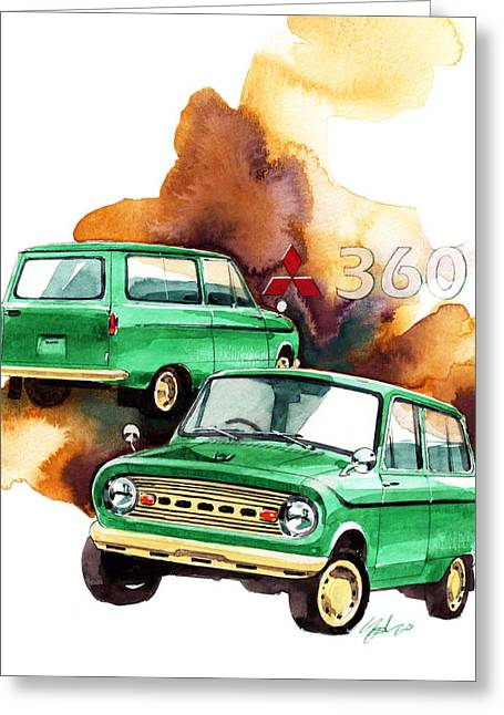 360 Greeting Cards - Mitsubishi 360 van Greeting Card by Yoshiharu Miyakawa