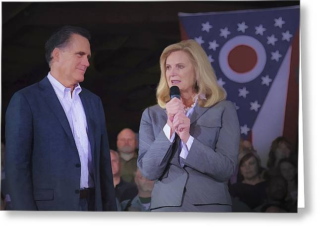 2012 Presidential Election Photographs Greeting Cards - Mitt and Ann Romney in Ohio 2012 Greeting Card by Jack R Perry