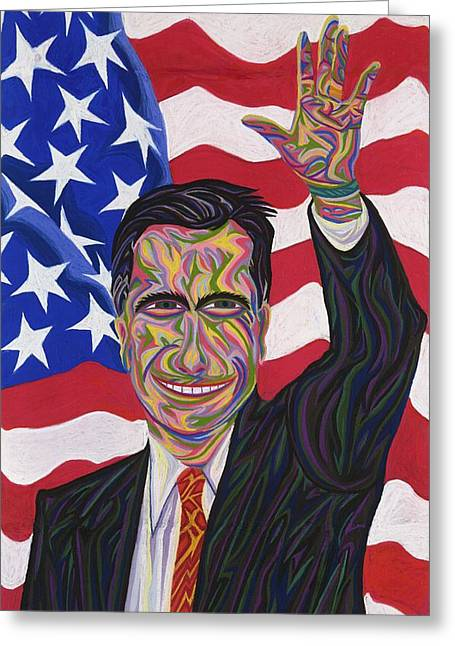 Barrack Pastels Greeting Cards - Mitt Romney Greeting Card by Robert  SORENSEN