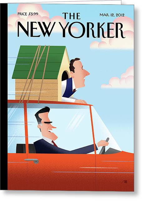 Mitt Romney Driving With Rick Santorum In A Dog Greeting Card by Bob Staake