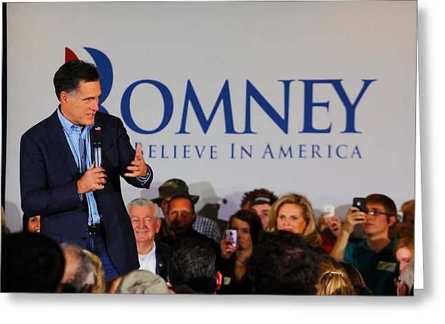 2012 Presidential Election Photographs Greeting Cards - Mitt Romney Greeting Card by Joseph C Hinson Photography