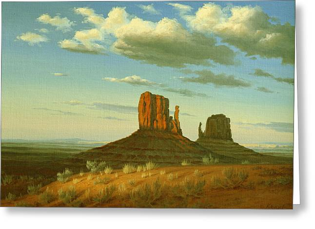 Navajo Greeting Cards - Mitten Buttes Greeting Card by Paul Krapf