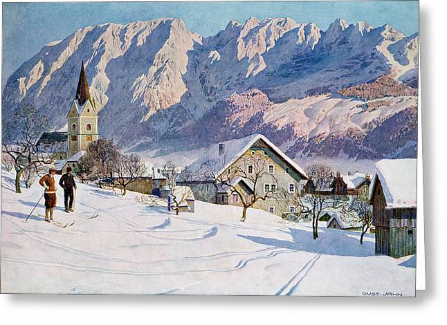 Ski Village Greeting Cards - Mitterndorf in Austria Greeting Card by Gustave Jahn