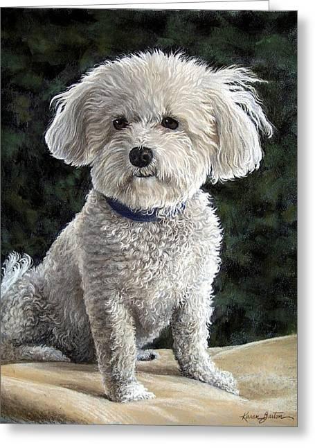Small Dog Pastels Greeting Cards - Mitzie Greeting Card by Karen Barton