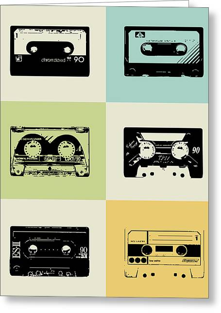 Brainy Greeting Cards - Mix Tape Poster Greeting Card by Naxart Studio