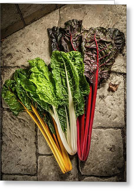 Mixed Chard Greeting Card by Aberration Films Ltd