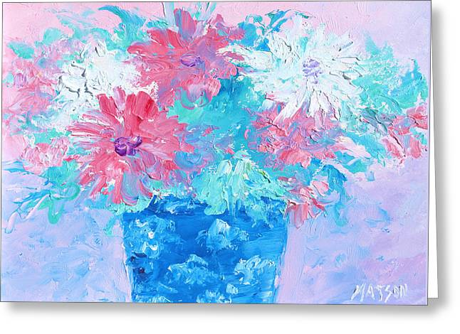 Abstract Vase Flower Print Greeting Cards - Mixed Chrysanthemums in blue vase Greeting Card by Jan Matson