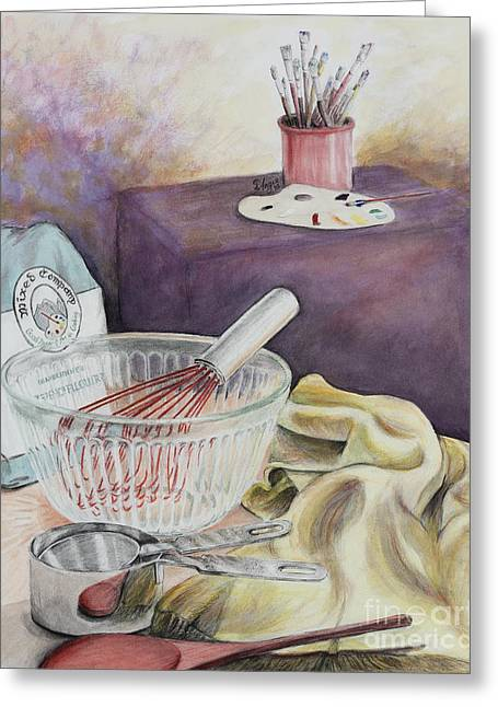 Flour Drawings Greeting Cards - Mixed Company Greeting Card by Angie Bray-Widner