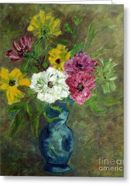 Pissaro Greeting Cards - Mixed Cosmos in a blue vase.  Greeting Card by Zoe Schminke