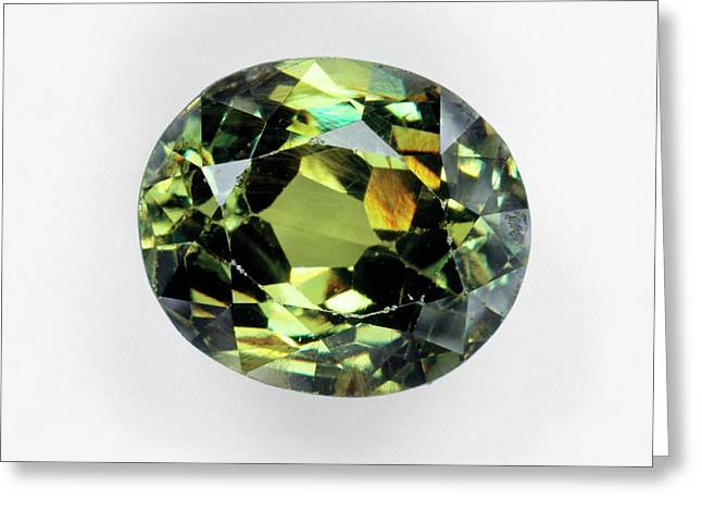 Mixed-cut Demantoid Andradite Garnet Greeting Card by Dorling Kindersley/uig