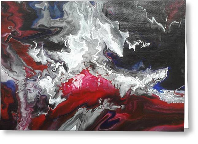 Acrylic Pour Greeting Cards - Mixed Emotions Greeting Card by Mitchell Embry