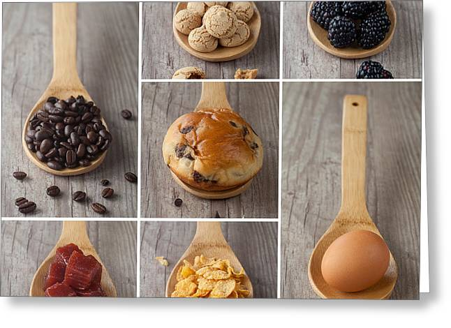 Mixed Food Collage Greeting Card by Sabino Parente