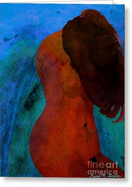 Painted Image Greeting Cards - Mixed Media Figure Greeting Card by David Gordon