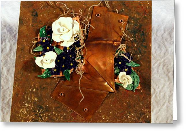Moss Sculptures Greeting Cards - Mixed Media Flower Garden Greeting Card by P Russell