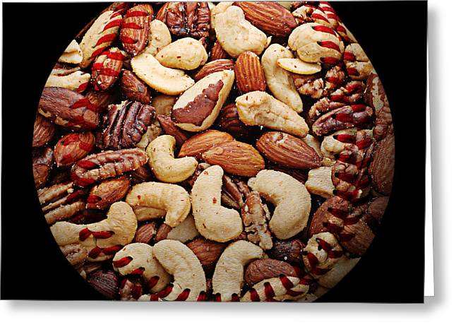 Baseball Art Photographs Greeting Cards - Mixed Nuts Baseball Square Greeting Card by Andee Design
