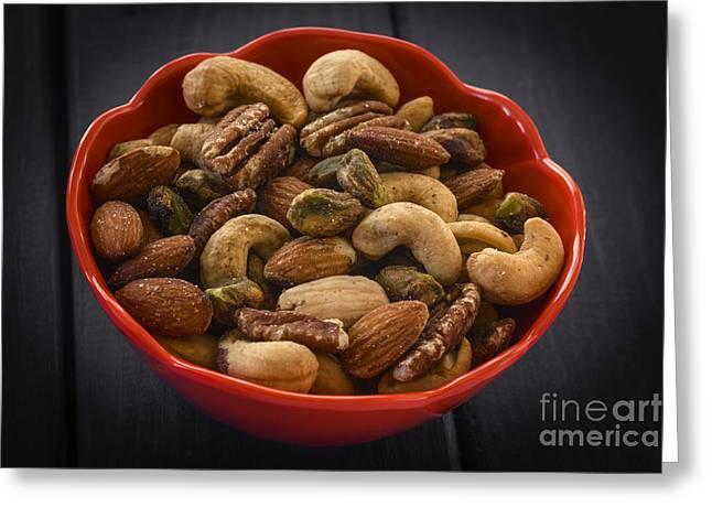 Heart Healthy Photographs Greeting Cards - Mixed nuts still life Greeting Card by Vishwanath Bhat