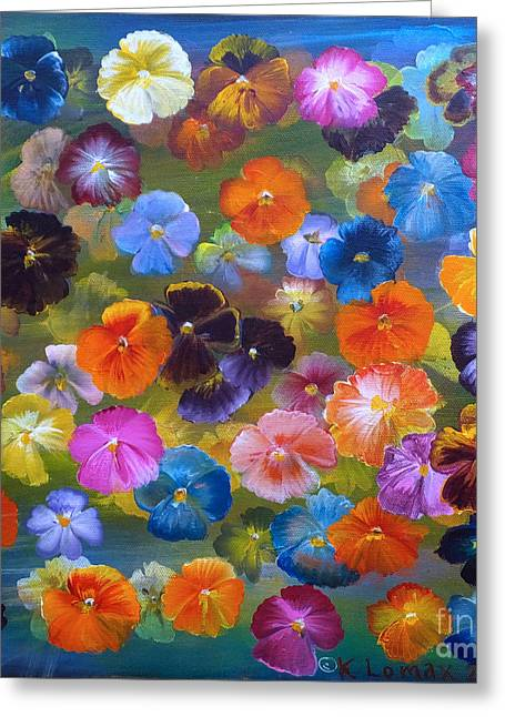 Lomax Greeting Cards - Mixed Pansies Greeting Card by Kate Lomax