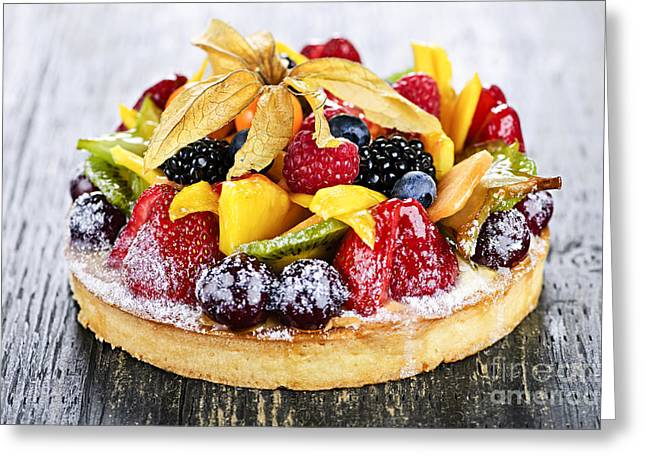 Uncut Greeting Cards - Mixed tropical fruit tart Greeting Card by Elena Elisseeva