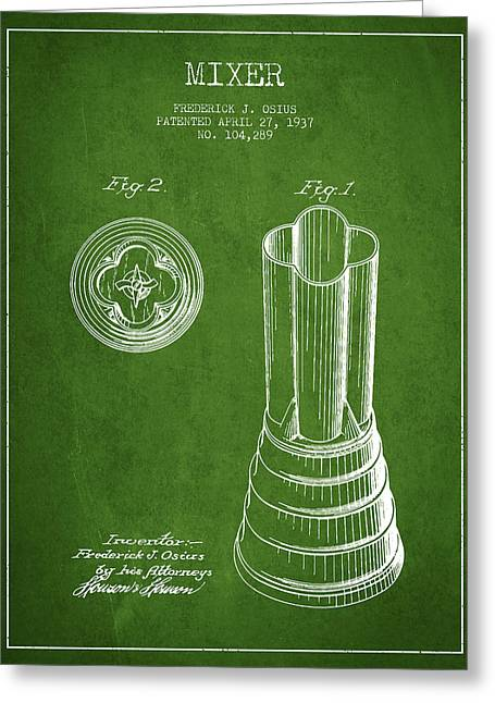 Shakers Greeting Cards - Mixer Patent from 1937 - Green Greeting Card by Aged Pixel