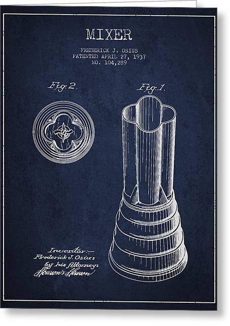Shakers Greeting Cards - Mixer Patent from 1937 - Navy Blue Greeting Card by Aged Pixel