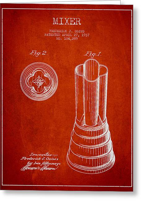 Shakers Greeting Cards - Mixer Patent from 1937 - Red Greeting Card by Aged Pixel