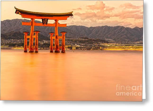 Floating Torii Greeting Cards - Miyajima Torii gate - Japan Greeting Card by Luciano Mortula