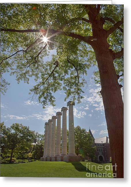 Kaypickens.com Photographs Greeting Cards - Mizzou Columns Sunflare Greeting Card by Kay Pickens