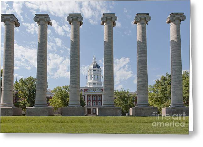 Mizzou Jesse Hall And Columns Greeting Card by Kay Pickens