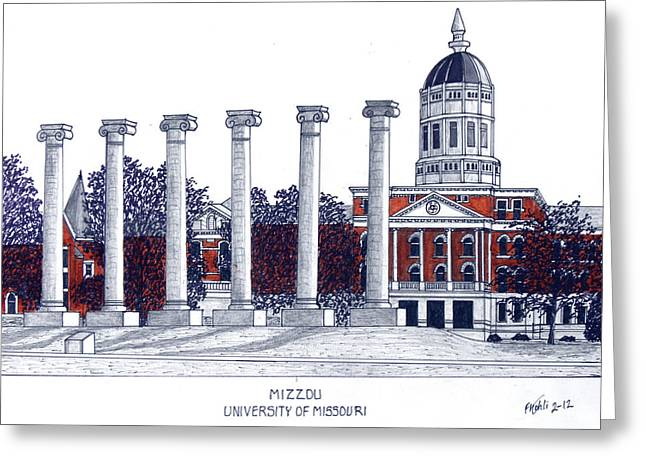 College Campus Buildings Drawings Greeting Cards - Mizzou - University of Missouri Greeting Card by Frederic Kohli