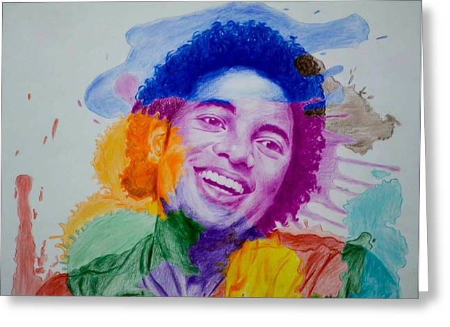 Mj Color Splatter Greeting Card by Sruthi Murali