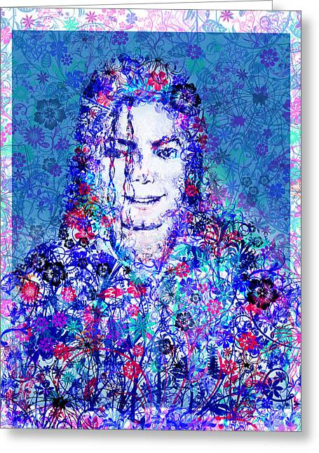 Billie Jean Greeting Cards - MJ floral version 2 Greeting Card by MB Art factory