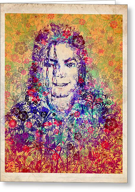 Moon Walk Greeting Cards - MJ floral version 3 Greeting Card by MB Art factory
