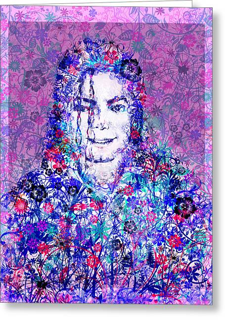 Billie Jean Greeting Cards - MJ floral version Greeting Card by MB Art factory
