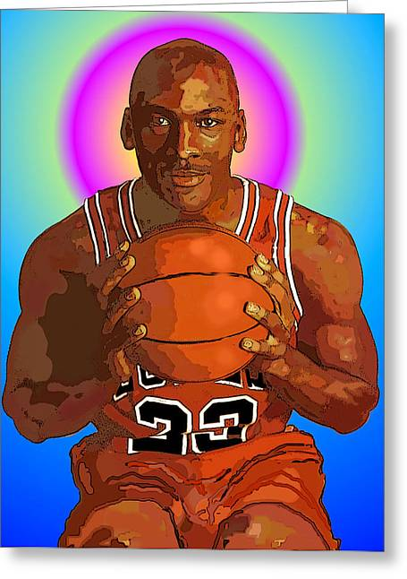 Chicago Bulls Mixed Media Greeting Cards - Mj Halo Greeting Card by Vernon Rowlette